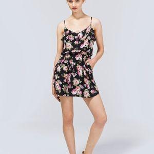 Aritzia Talula Ulla Floral Print Ruffle Mini Dress